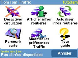 L'écran de l'option traffic