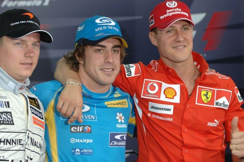 Kimi Raikkonen, Fernando Alonso, Michael Schumacher
