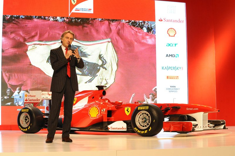 Luca di Montezemolo au lancement de la Ferrari F150